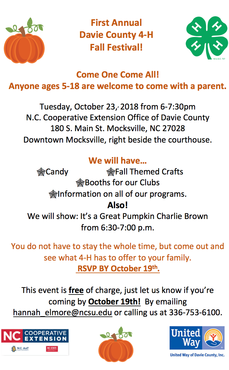 Fall Festival, Tuesday, October 23 6 p.m. Extension Office in Mocksville