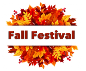 Orange and red leaves in a semi circle above and below the words Fall Festival