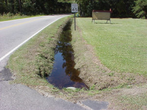 water-filled drainage ditch along road
