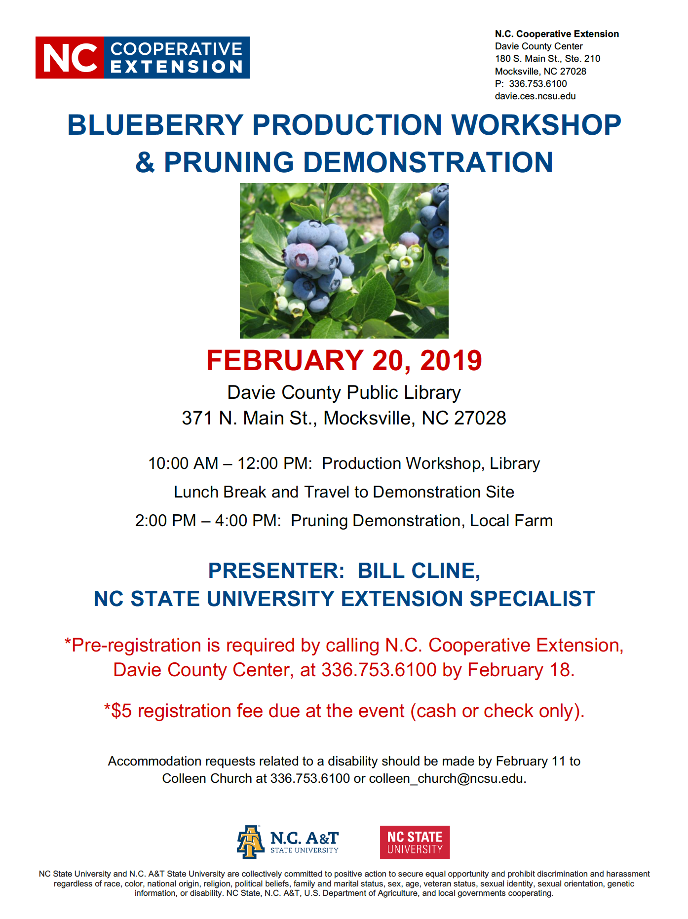 Screen shot of the PDF For the Blueberry Production Workshop and Pruning Demonstration on Wednesday, February 20th starting at 10 a.m. to noon with a lunch break and the demo at 2 p.m. The meeting will take place first at the Davie County Library at 371 N. Main St. Mocksville 27028. A five dollar fee for registration can be paid in cash or check at the event. To register call NC Cooperative Extension, Davie County Center at 336-753-6100 bu Monday February 18th.