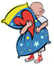 A graphic of a child with no hair hugging a pillow