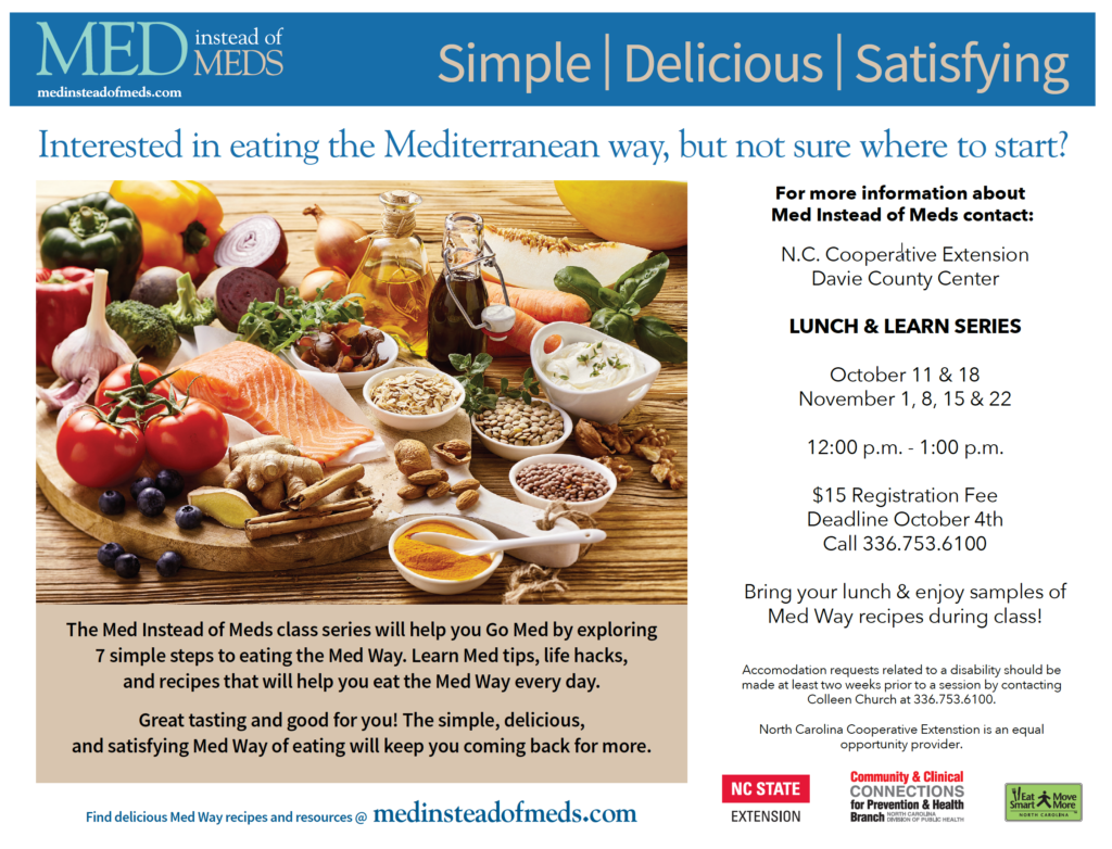 Flyer for Med instead of Meds Lunch and Learn series, Starting in October.