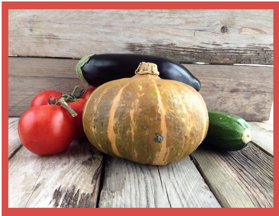 Tomatoes, zucchini, eggplant, and a s,mall pumpkin sitting on a wooden table