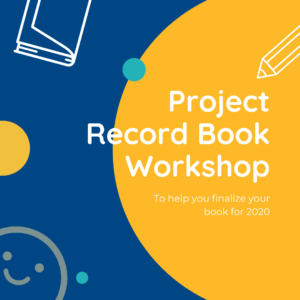 Blue background, yellow half circle on the right side with doodled book, smiley face, and pencil